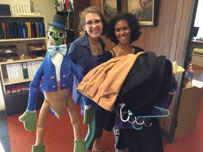 Costumers Marie Green and Ariel Smith O'Neal with puppet Hickory Cricket